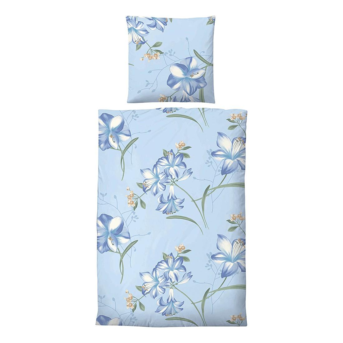 Edelflanell-Bettwäsche Corinna – Blau – 155 x 220 cm + Kissen 80 x 80 cm, Biberna günstig