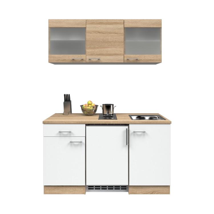 Küchenzeile Ole – Einbaugeräte – Spüle – 150 cm – Eiche Sonoma Dekor / Weiß – Eiche Sonoma Dekor, Modus Küchen günstig bestellen
