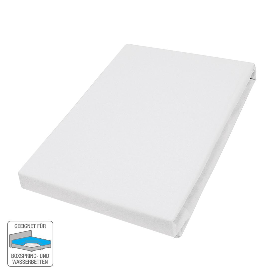 Elastan-Feinjersey-Spannbetttuch – Weiß – 180-200 x 200-220 cm, vario günstig online kaufen
