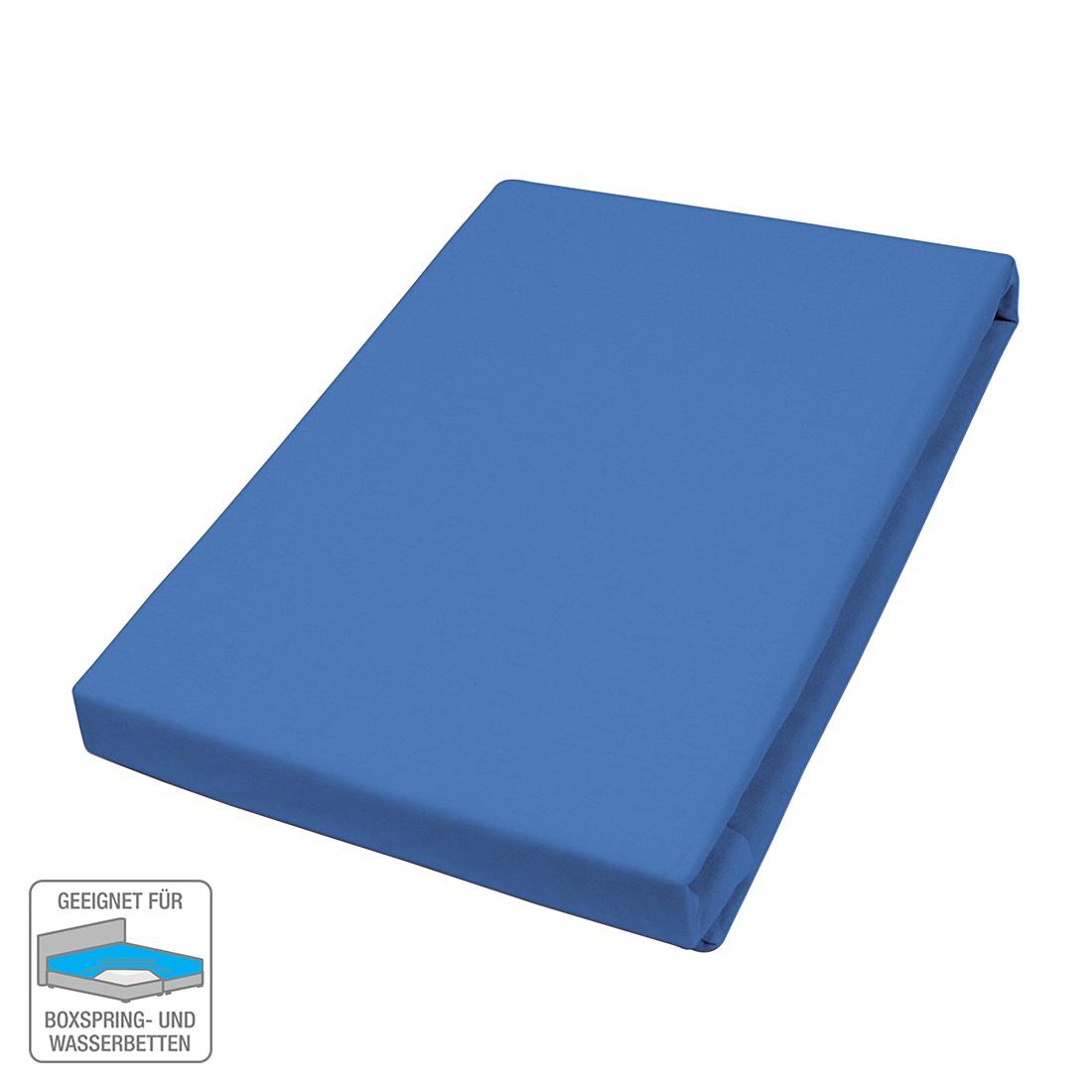 Elastan-Fernjersey-Spannbetttuch – Blau – 140-160 x 200-220 cm, vario bestellen