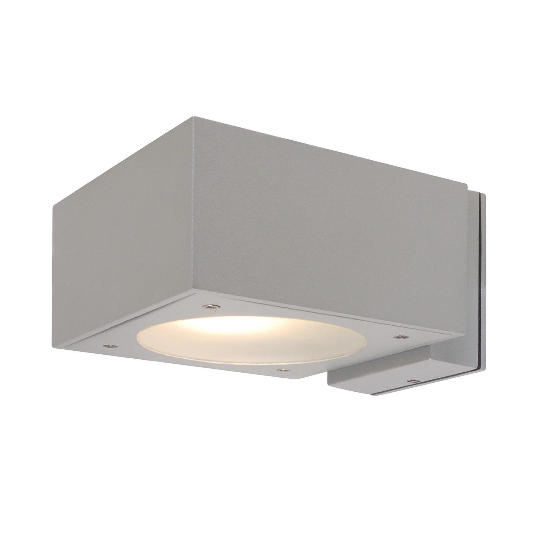 EEK A++, Energiespar-Außenwandleuchte Oblong 2-flammig - Silber Aluminium, Näve
