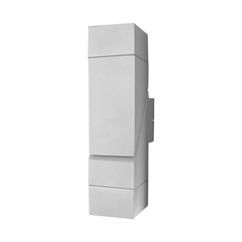 Energiespar-Außenwandleuchte Skew 2-flammig ● Silber Aluminium- Näve A++