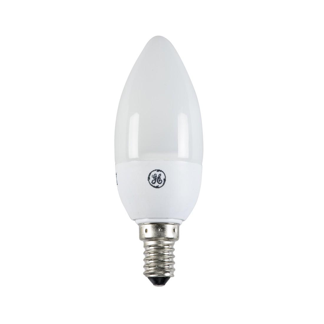 Energiesparlampe E14 7 W Kerze ● Glas Weiß- GE Lighting