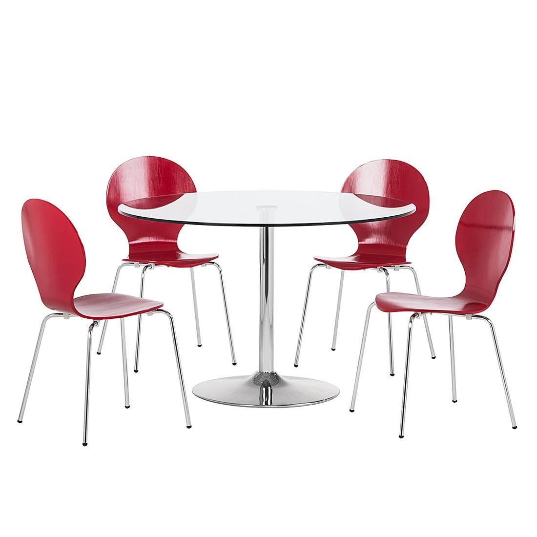 Essgruppe Bristol (5-teilig) – Glas/Chrome/Formholz Rot, Fredriks jetzt bestellen