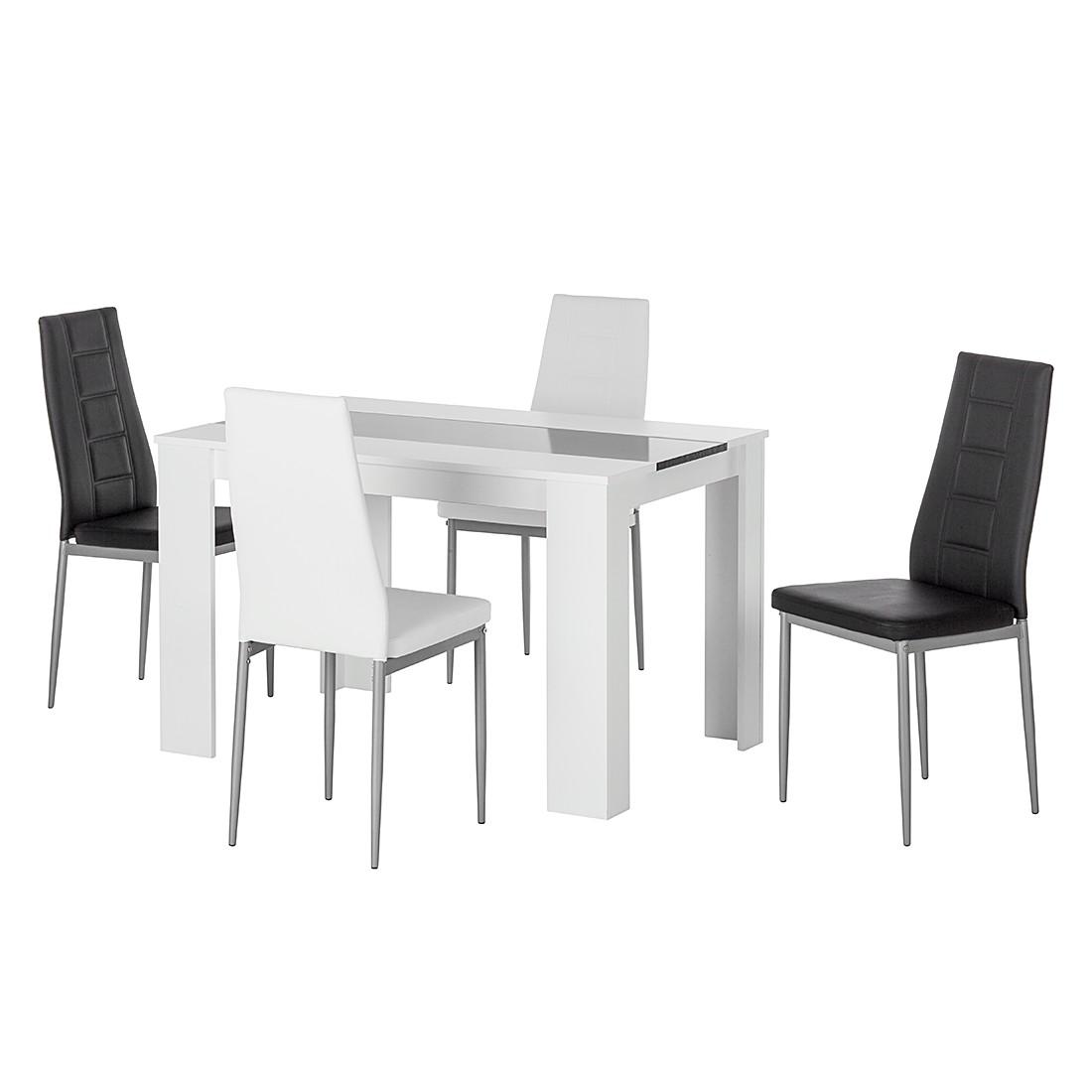 Essgruppe Chiara (5-teilig) – Weiß/Schwarz, Home Design online bestellen