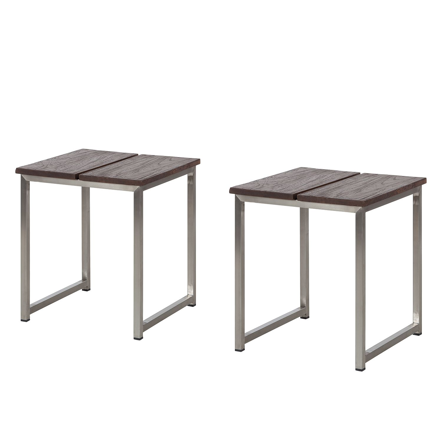 Hocker Concept Neo Antique (2er-Set) - Teakholz massiv / Edelstahl, Kings Garden