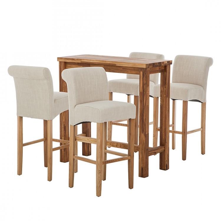 essgruppe jazwood vi 5 teilig eiche massiv webstoff beige ars natura online kaufen. Black Bedroom Furniture Sets. Home Design Ideas
