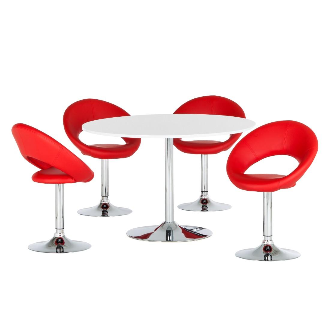 essgruppe keene 5 teilig hochglanz wei kunstleder rot. Black Bedroom Furniture Sets. Home Design Ideas