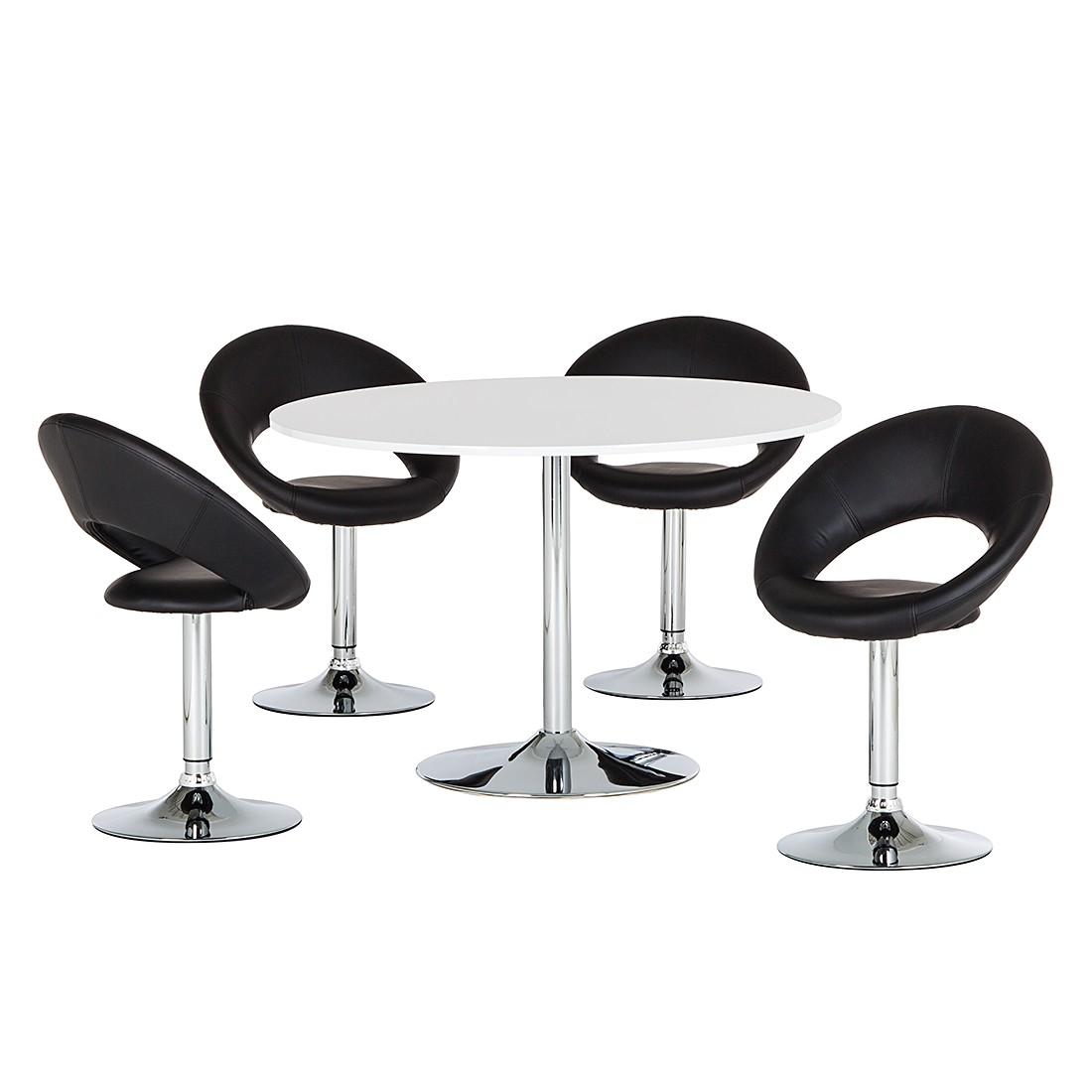 essgruppe keene 5 teilig hochglanz wei kunstleder schwarz. Black Bedroom Furniture Sets. Home Design Ideas