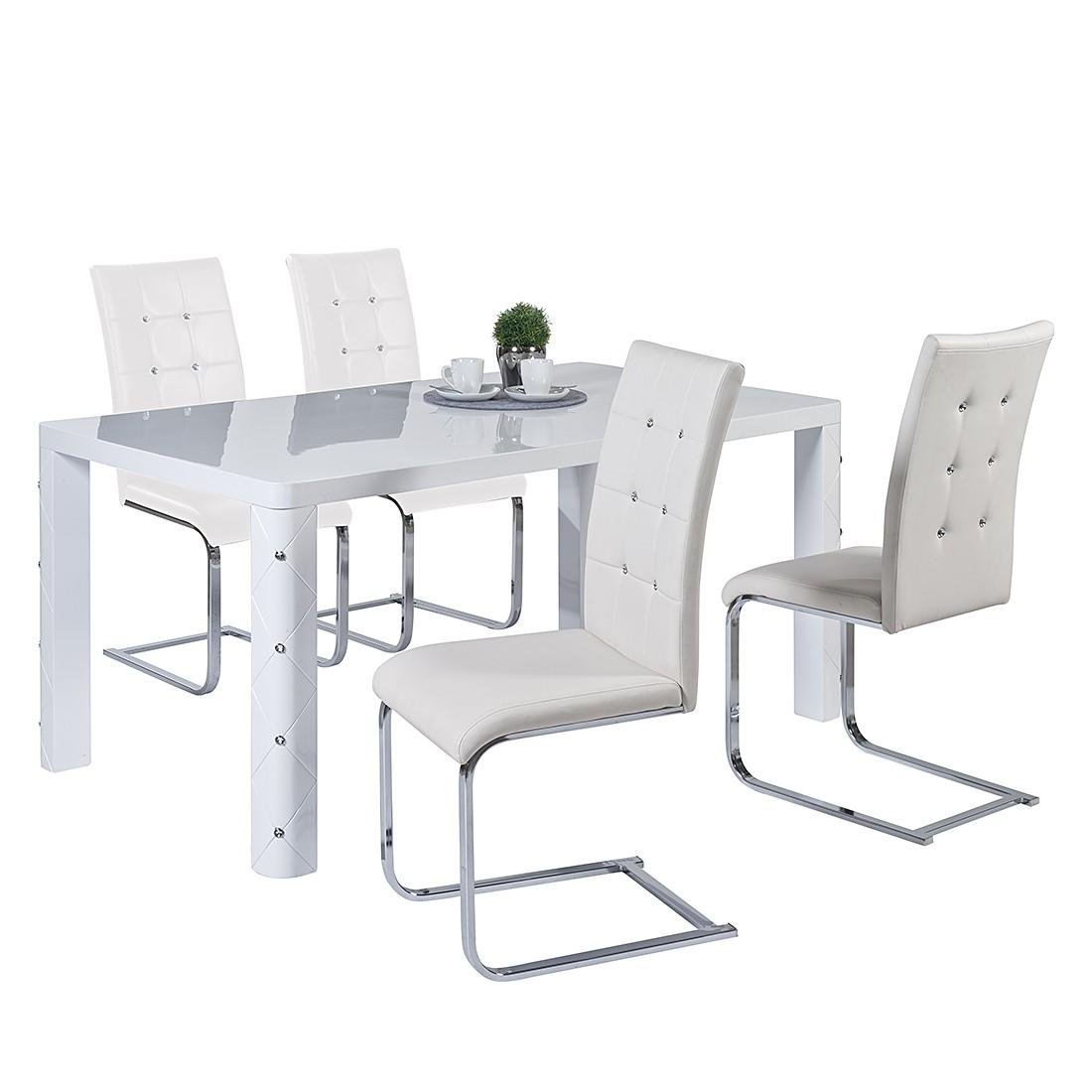 Essgruppe Lagos - Mit Esstisch & 4 Stühlen in Diamantoptik - Weiß