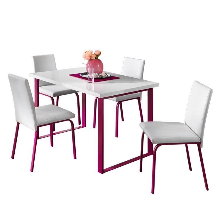 Essgruppe Naveda (4-teilig) – Weiß / Pink, roomscape bestellen