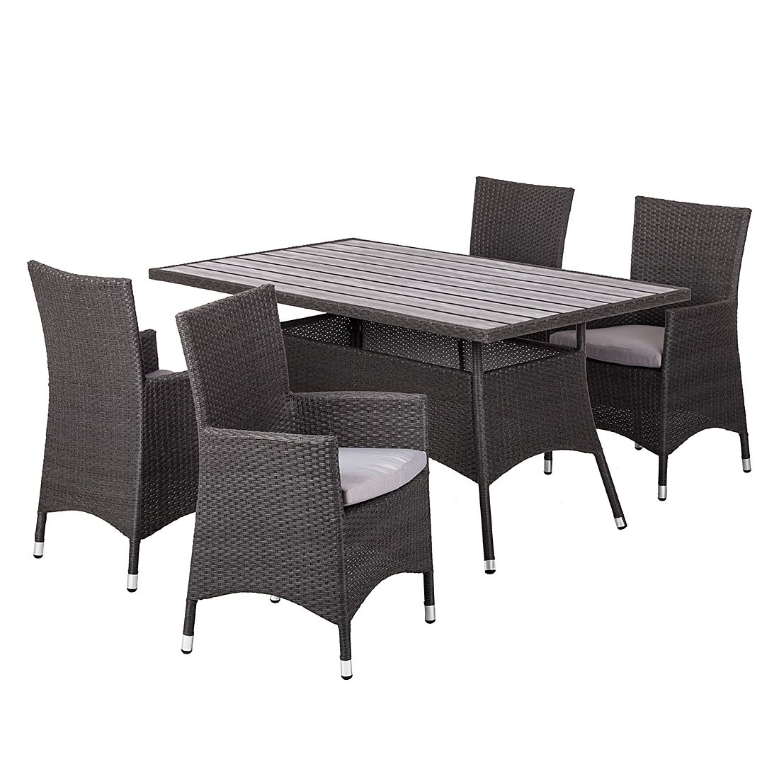 essgruppe paradise lounge i 5 teilig polyrattan grau kings garden g nstig online kaufen. Black Bedroom Furniture Sets. Home Design Ideas