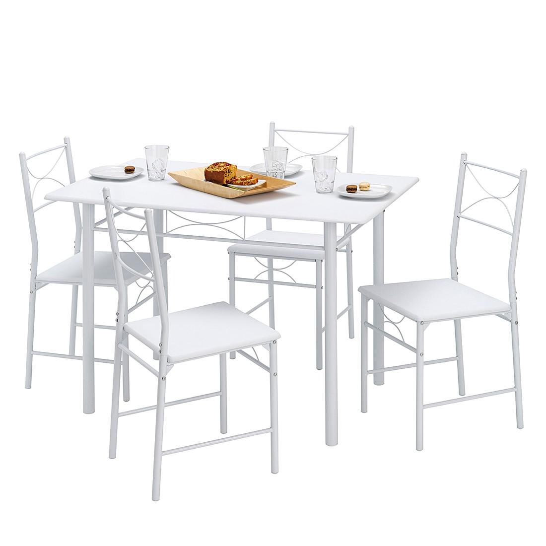 Essgruppe Saint-Denise mit vier Stühlen - Weiß