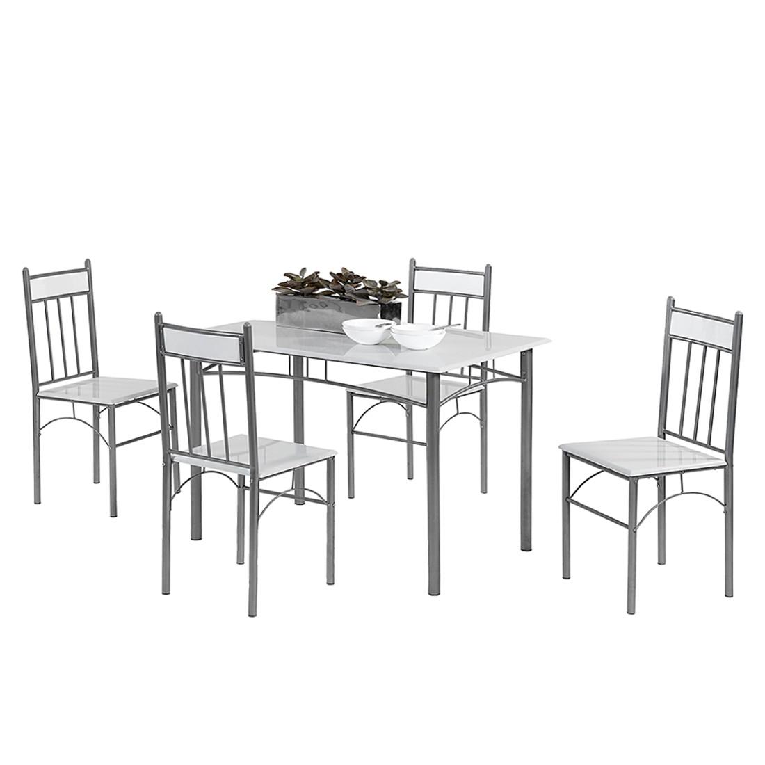 Essgruppe Star (5-teilig) – Hochglanz Weiß/Alu lackiert, Home Design günstig