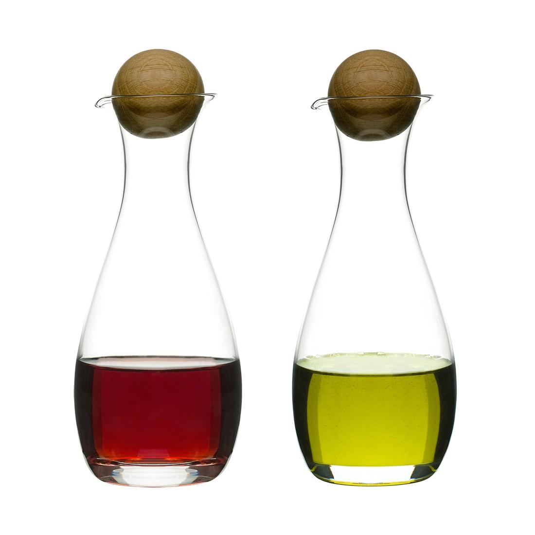 Essig- und Ölset Oval Oak 2 tlg. – Glas, Eichenholz Transparent, Holz, Sagaform bestellen
