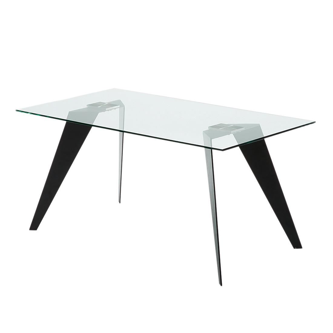 Eettafel Anath - glas/zwart roestvrij staal - 160x90cm, roomscape
