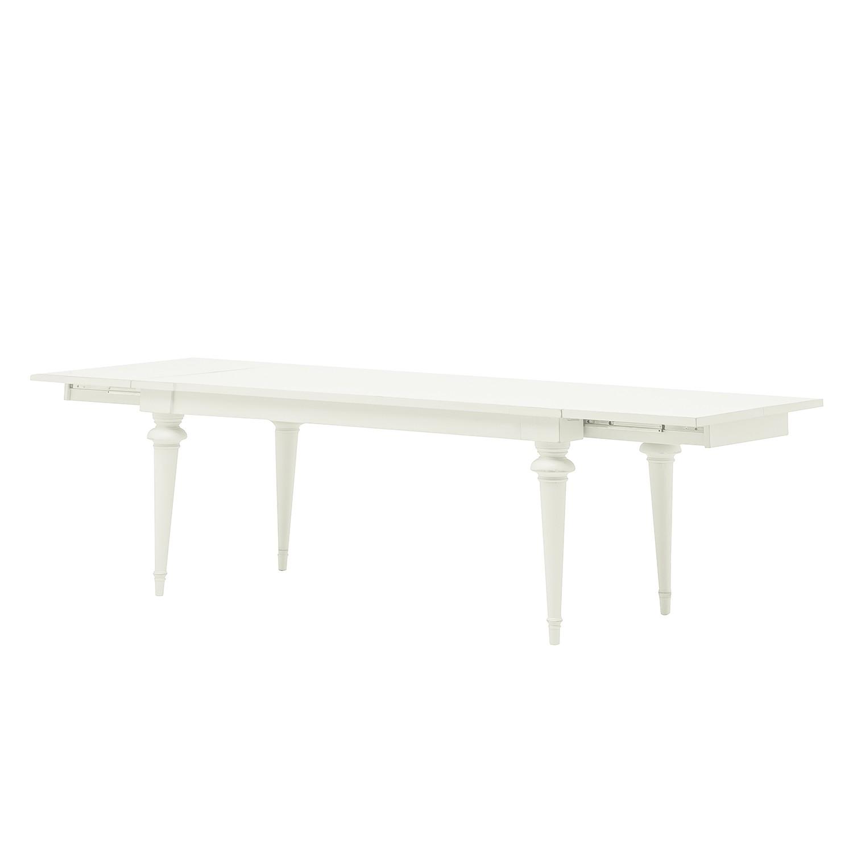 Esstisch Azjana - Pinie massiv - Pinie weiß lackiert - Mit Kopfauszug beidseitig, Maison Belfort