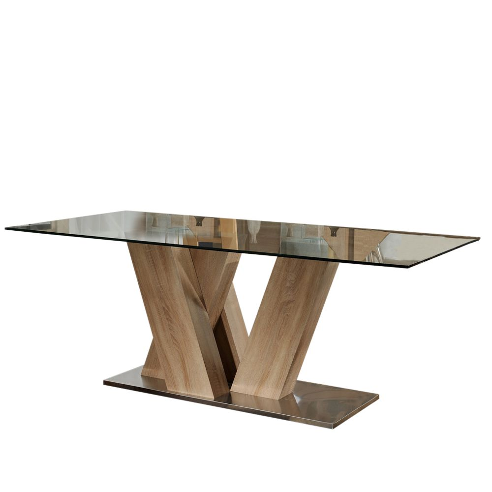 Esstisch Holz Und Glas Kombiniert Massiv Eiche Mooreiche