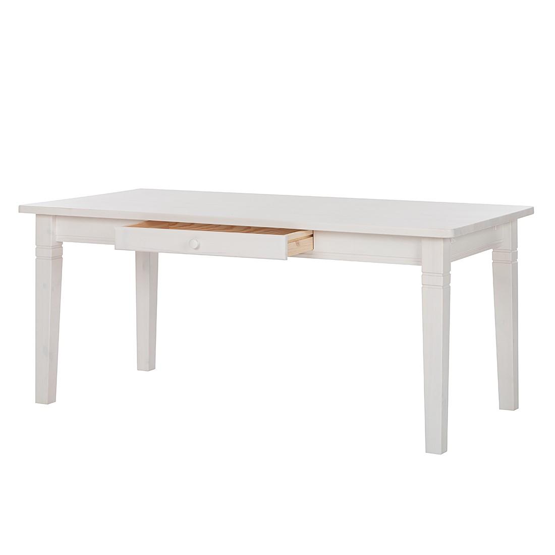 ... Kiefer massiv - Weiß - 180 x 90 cm - Ohne Funktion, Landhaus Classic