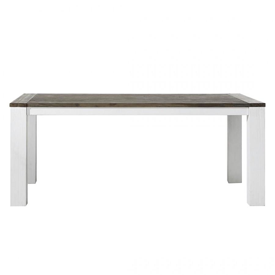 Esstisch Deaumain (mit Ausziehfunktion) - Akazie teilmassiv - Weiß - 160 x 100 cm, Habufa