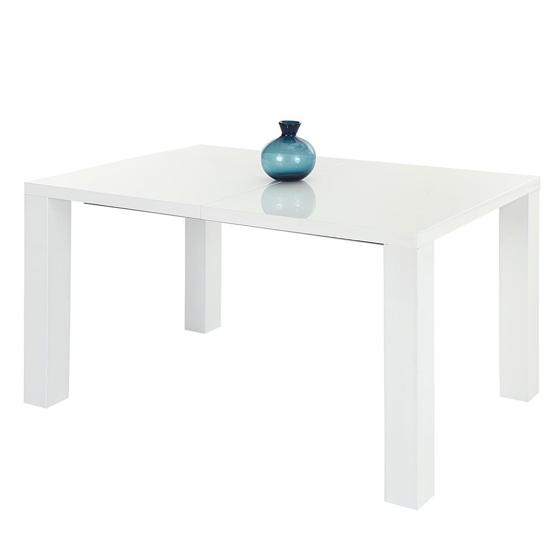 Esstisch Jolina (mit Ausziehfunktion) - Hochglanz Weiß - 160-200 x 90 cm, Home Design