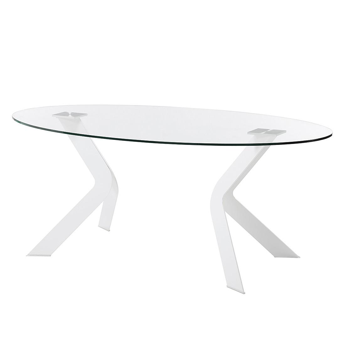 Esstisch Mendel - Glas/Edelstahl - Klarglas / Weiß, roomscape