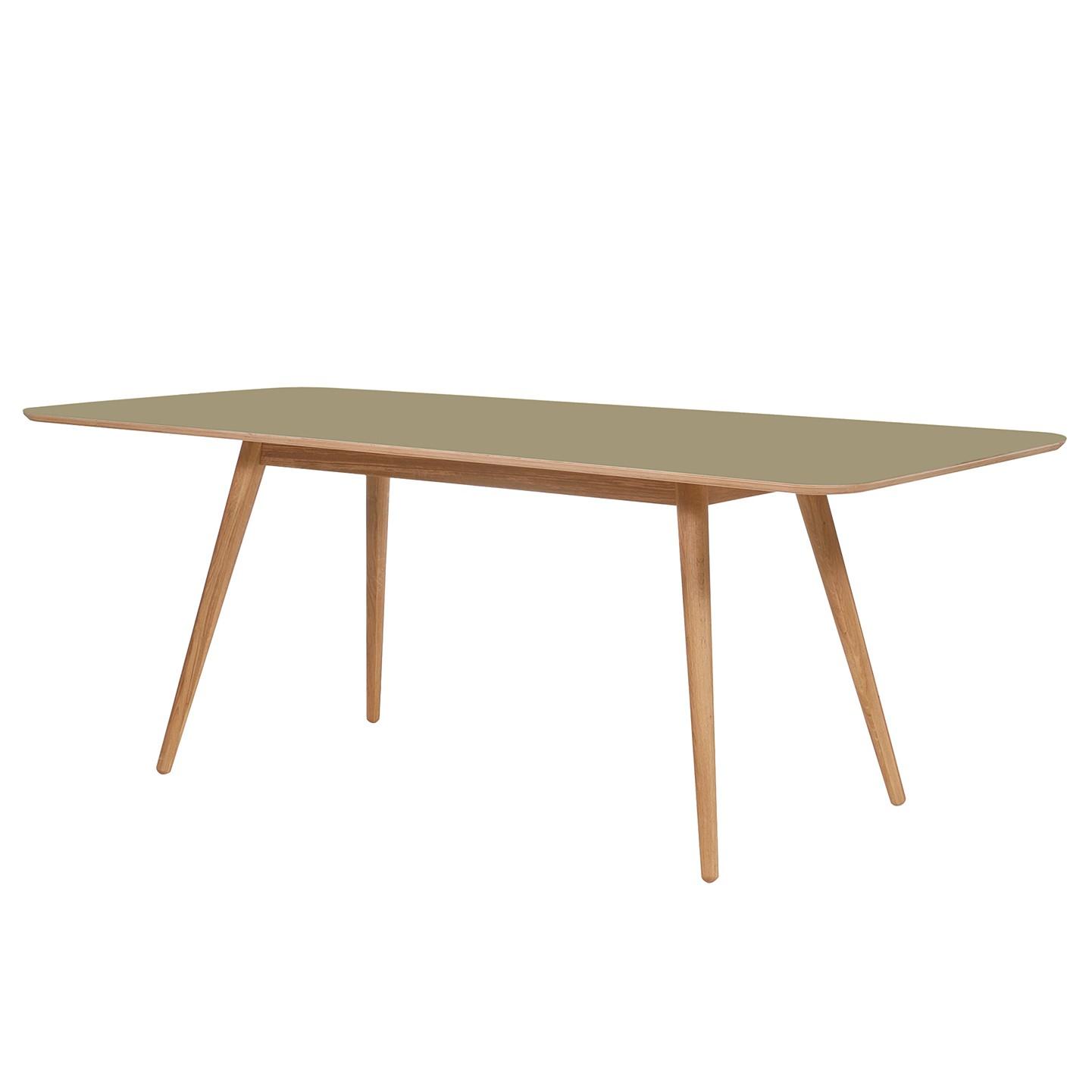 Esstisch Viggo - Eiche teilmassiv / Linoleum - Olivgrün / Eiche - 200 x 90 cm, Studio Copenhagen