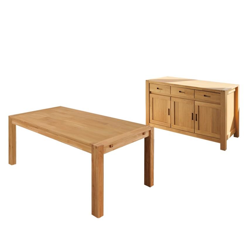 Esszimmer Set Apollo (2-teilig) – Eiche Teilmassiv – Sideboard & Tisch – Ausführung: mit Ansteckplatten, Young Furn günstig kaufen