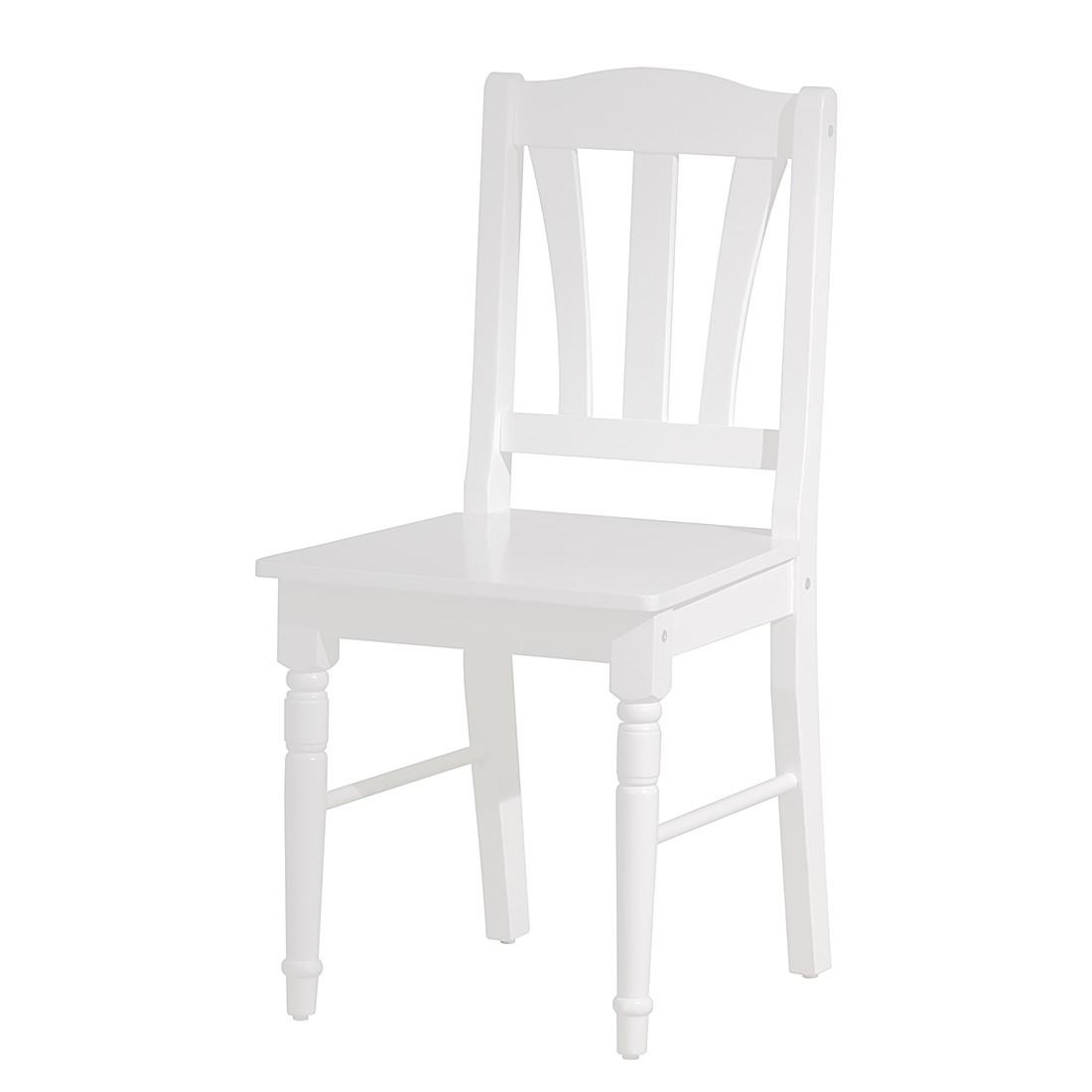 Esszimmerstuhl Antje (2er-Set) – Kiefer massiv – Weiß, Landhaus Classic jetzt kaufen