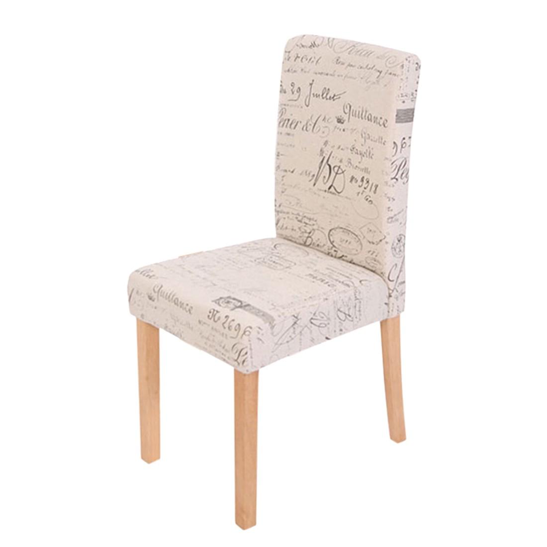 Esszimmerstuhl Littau (4er-Set) – Textil mit Schriftzug – creme – helle Beine, Mendler jetzt bestellen