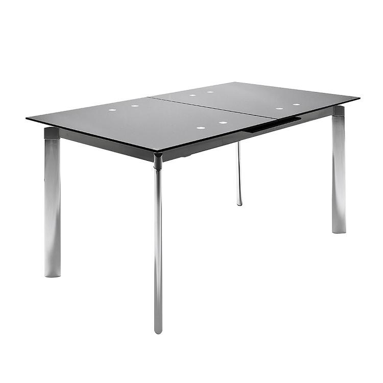 esszimmertisch place mit ausziehfunktion schwarzglas chrom gl nzend bellinzona g nstig. Black Bedroom Furniture Sets. Home Design Ideas
