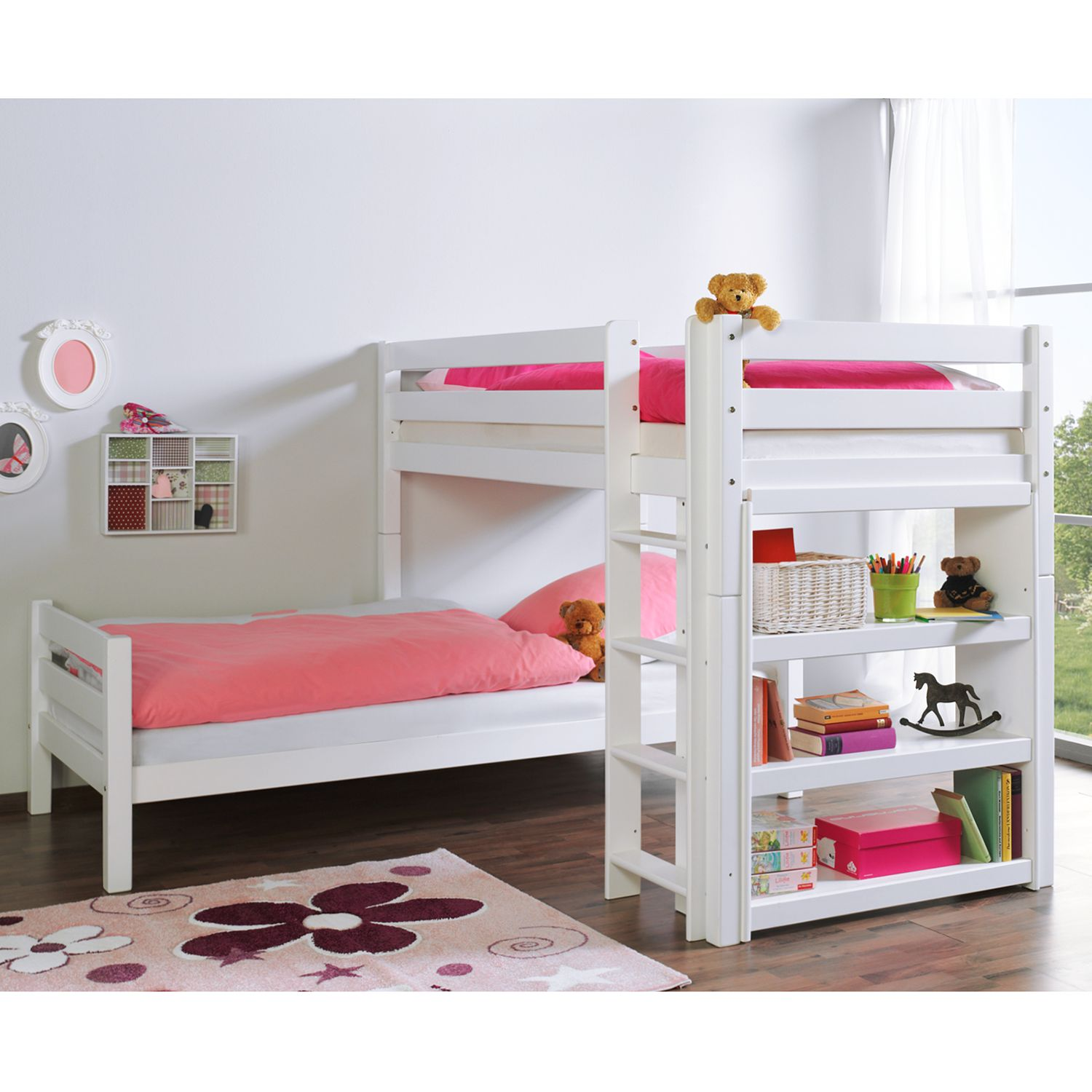 relita etagenbett beni massivholz buche wei l kinder bett hochbett jugendbett ebay. Black Bedroom Furniture Sets. Home Design Ideas