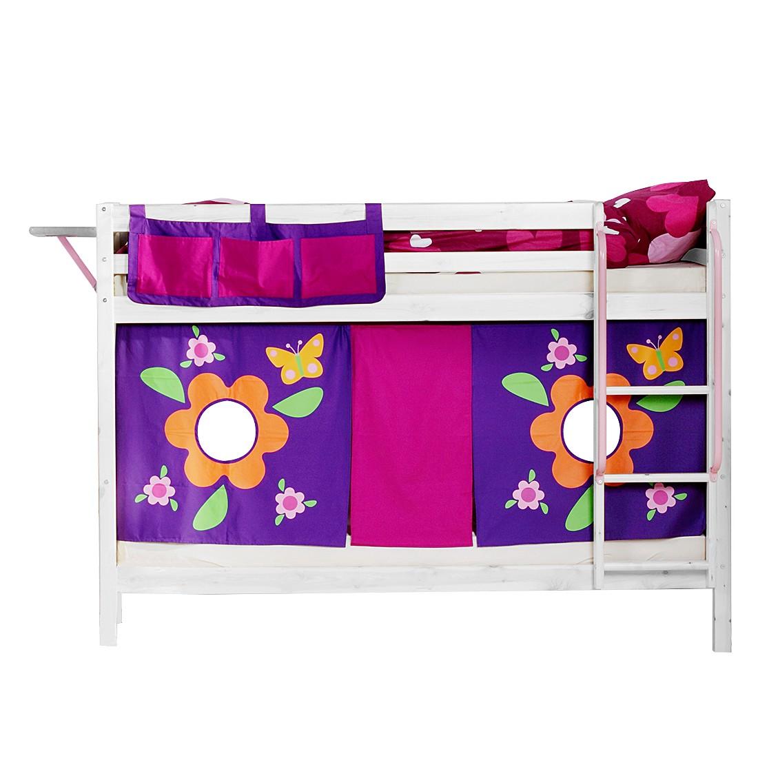 Etagenbett Hit I – Kiefer massiv/Textil – Weiß/Blumen – mit Betttaschen & 2 Matratzen, Flexa kaufen