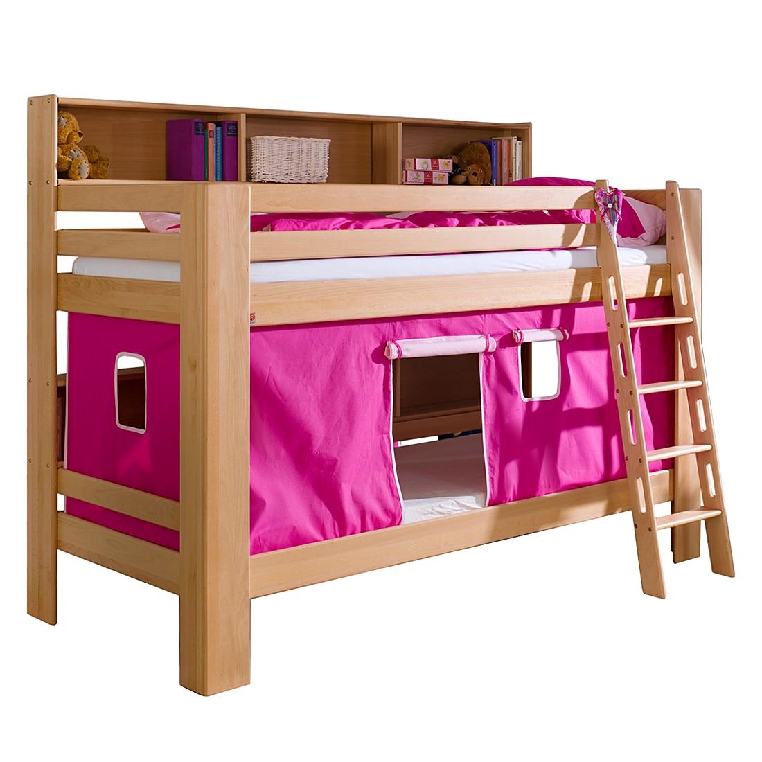 Etagenbett Jan – Buche massiv – Vorhang Pink/Rosa, Relita jetzt kaufen