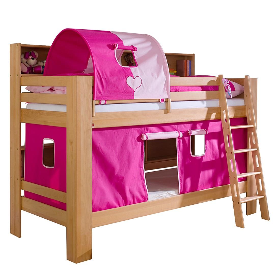 Etagenbett Jan - Buche massiv - Textilset Pink, Relita