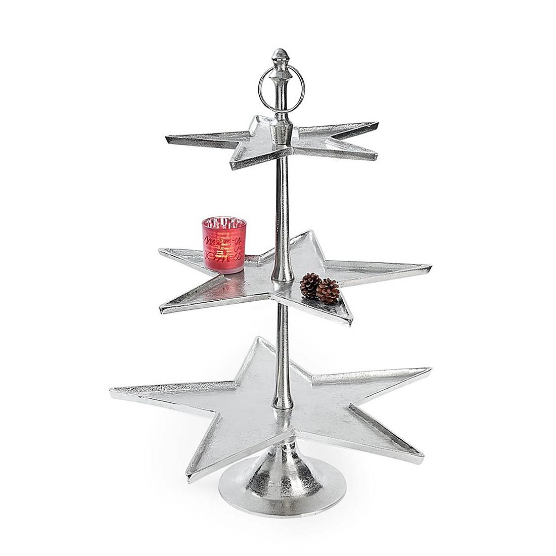 Etagere Stern (3-stöckig) – Metall – Silber, PureDay online kaufen