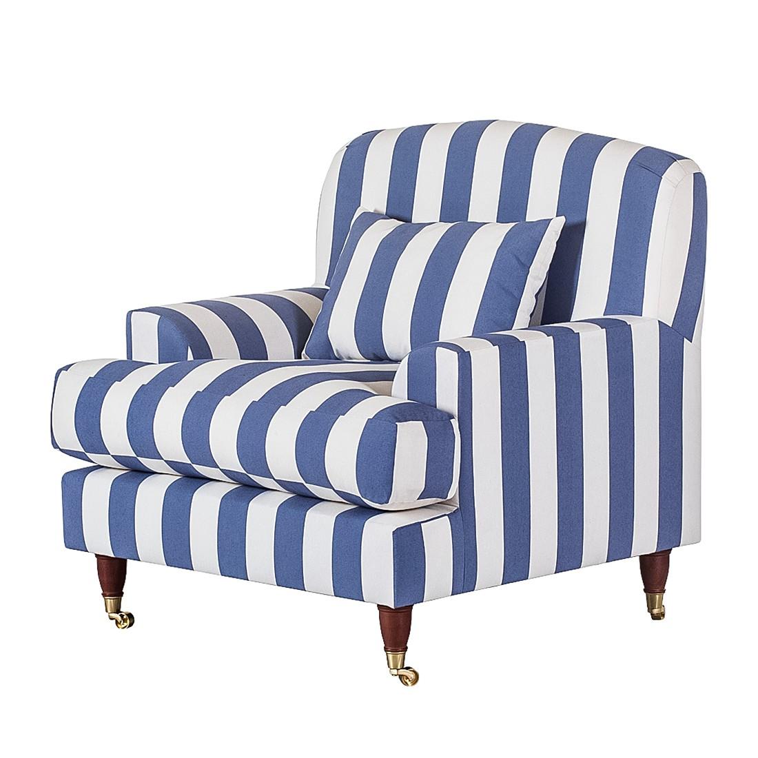 Sessel Bent – Webstoff Blau gestreift, Maison Belfort bestellen