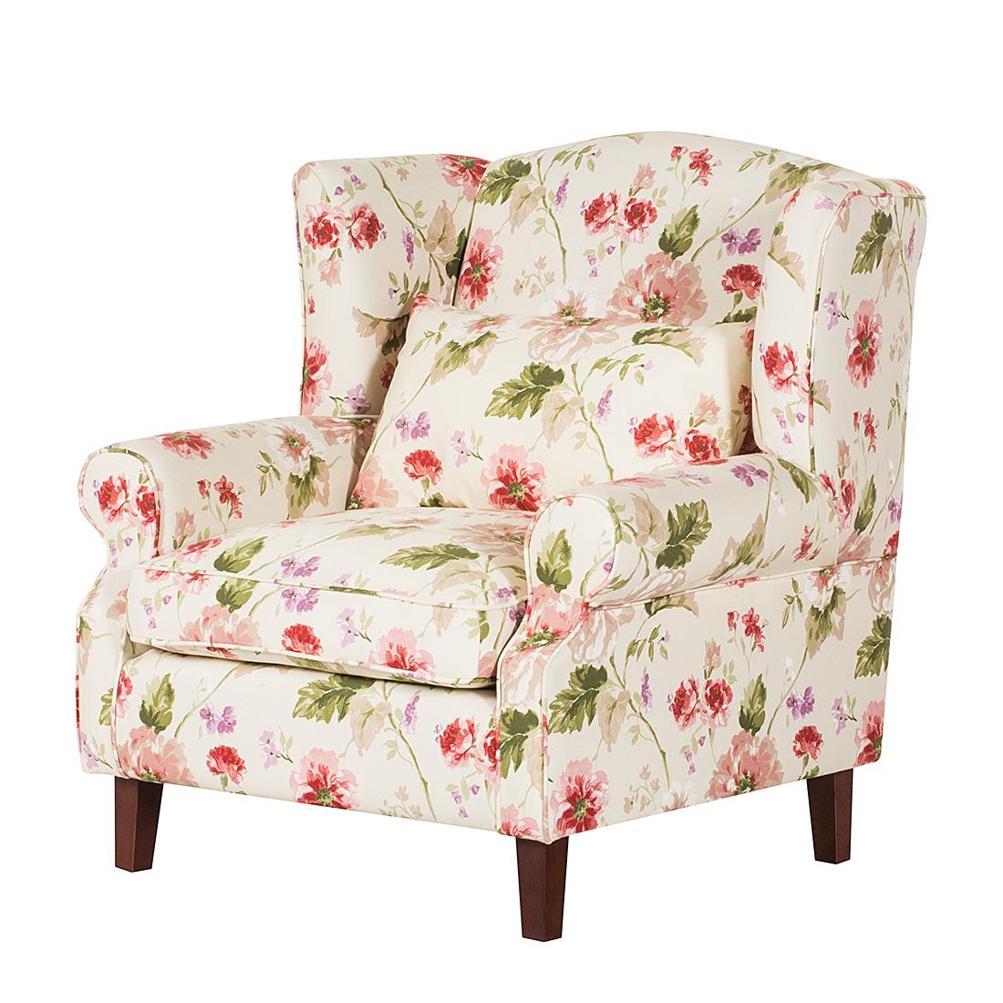 ohrensessel sofia webstoff beige rose blumenmuster. Black Bedroom Furniture Sets. Home Design Ideas
