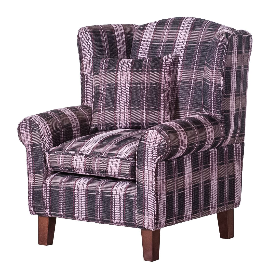 sessel colmar webstoff lila karomuster ohne hocker. Black Bedroom Furniture Sets. Home Design Ideas