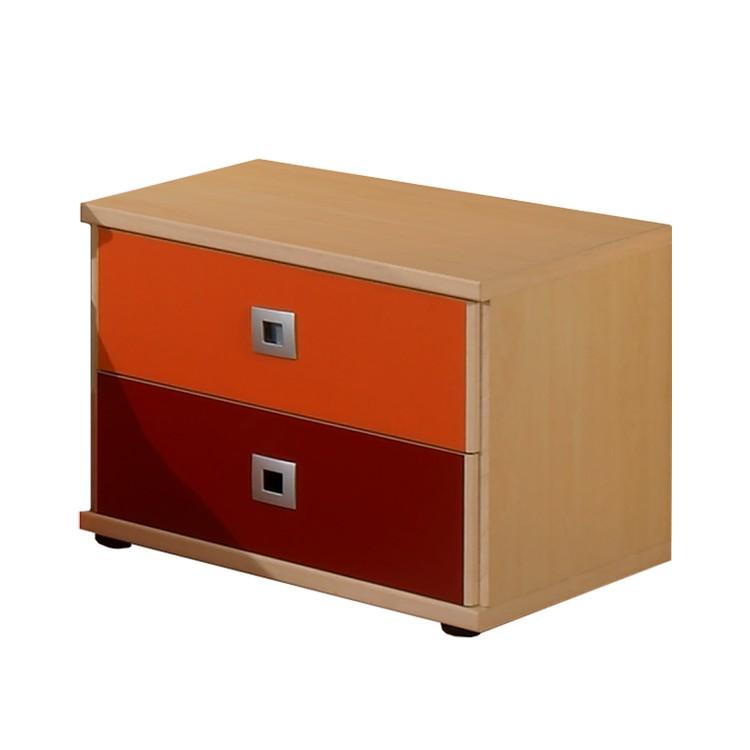 Nachtschrank Sunny – Ahorn Dekor/Orange-Rot, Wimex günstig kaufen