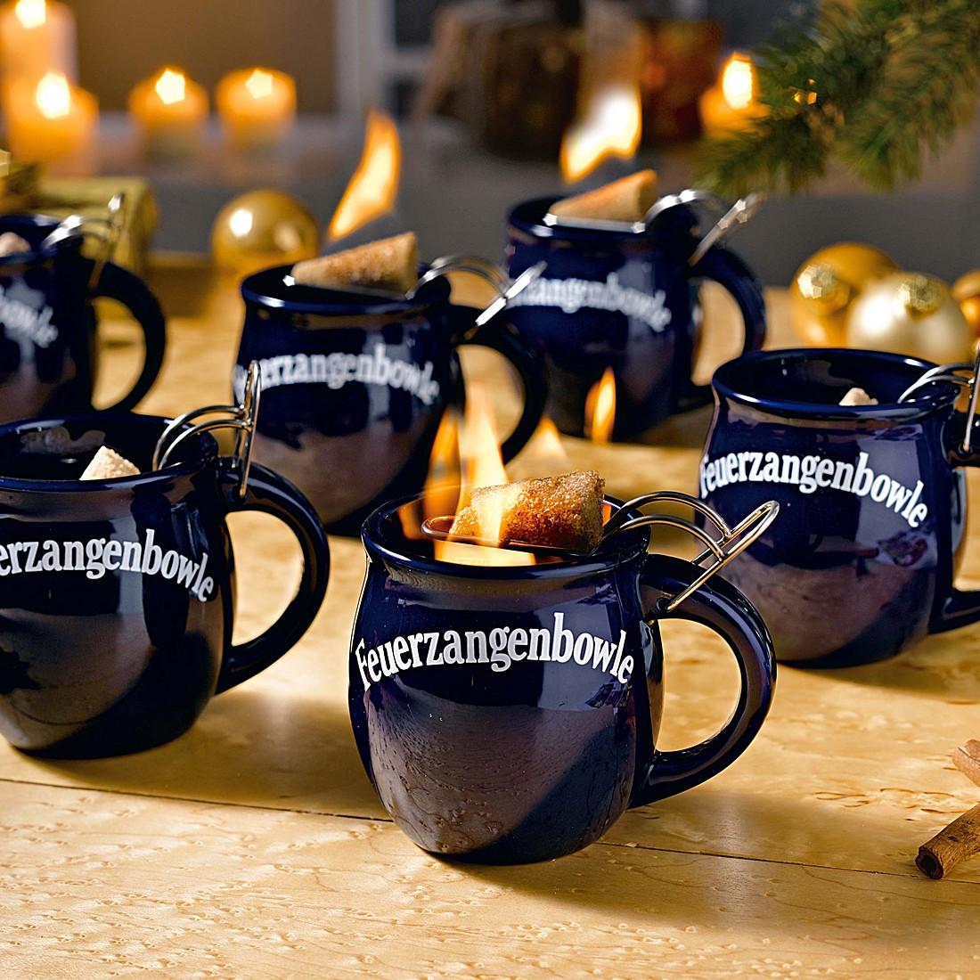 Feuerzangentassen-Set (6-teilig) – Keramik/Metall – Blau, PureDay günstig online kaufen