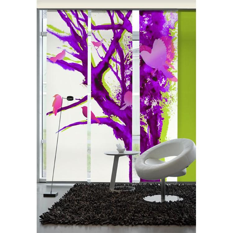 Flächenvorhang Baum der Vögel – Violett, emotion textiles jetzt kaufen