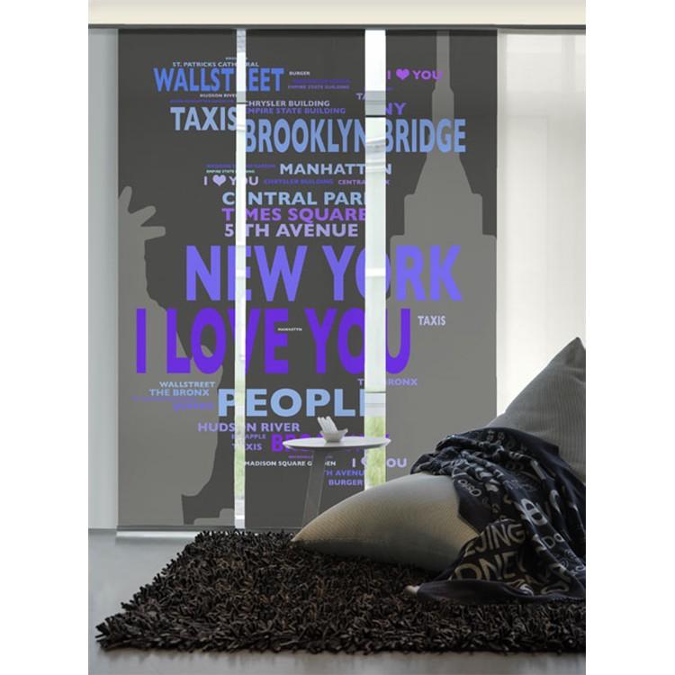 Flächenvorhang Big Apple – Anthrazit / Violett, emotion textiles günstig kaufen