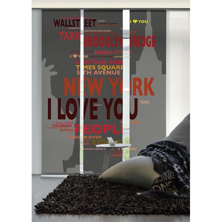 Flächenvorhang Big Apple – Grau / Orange, emotion textiles günstig kaufen
