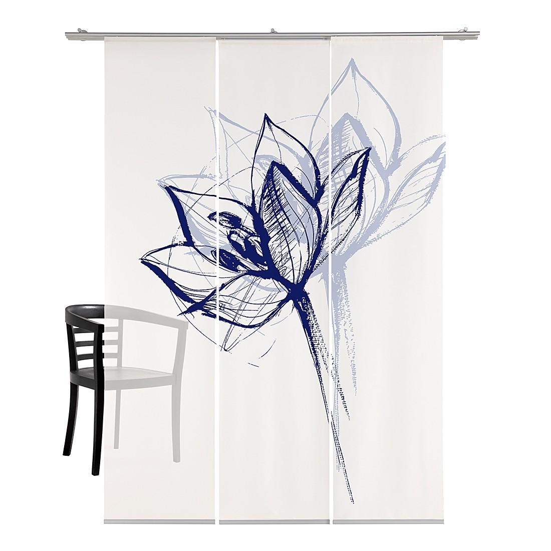 Flächenvorhang Blütenkopf – Weiß / Blau, emotion textiles bestellen