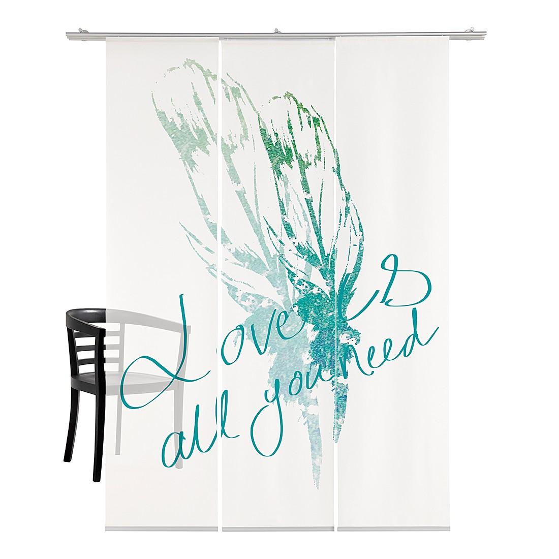 Flächenvorhang Feather – Weiß / Grün, emotion textiles günstig online kaufen