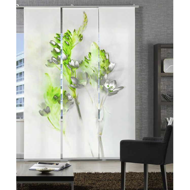 Flächenvorhang Floralzauber – Weiß / Grün, emotion textiles online bestellen