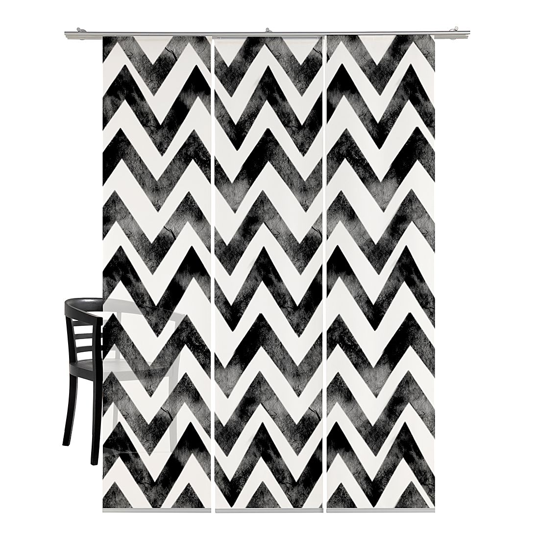 Flächenvorhang Zig-zag Batik – Schwarz, emotion textiles kaufen