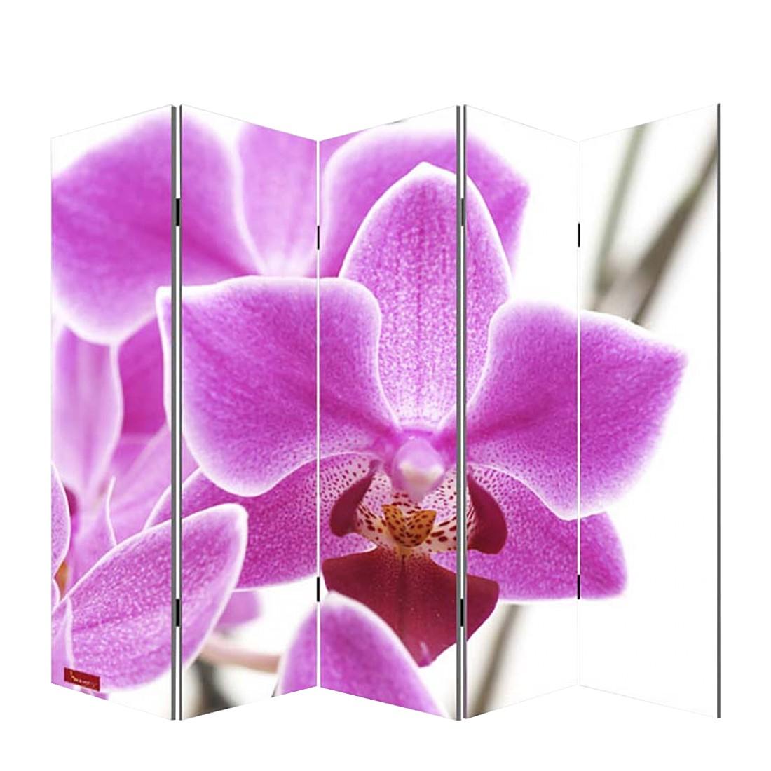 Paravent Somme aus 5 Panels – 180 x 200 cm – Orchidee, Mendler günstig online kaufen