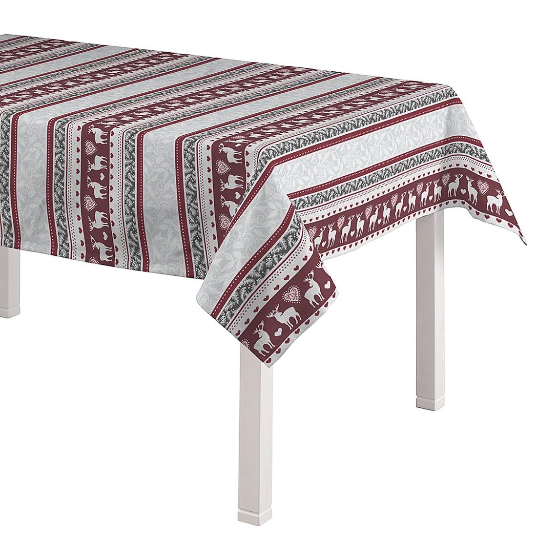 Tischdecke Rentiere – Grau / Rot – 130 x 130 cm, Dekoria jetzt kaufen
